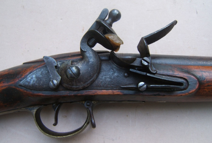 A VERY GOOD WAR OF 1812/NAPOLEANIC WAR PERIOD UNIT MARKED ENGLISH LARGE/MUSKET-BORE (.75 cal.) CARBINE w/ EXPERIMENTAL? DOGLOCK REAR SAFETY, ca. 1800 view 3