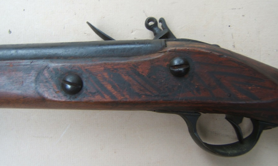 "A FINE & UNTOUCHED AMERICAN REVOLUTIONARY WAR PERIOD UNIT-MARKED? AMERICAN-MADE ""COS"" TYPE MUSKET w/ FOLK-ART/FAUX-GRAIN-PAINTED STOCK, ca. 1770 view 4"