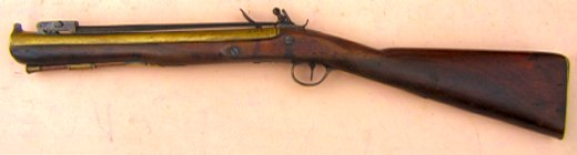 A FINE UNTOUCHED ENGLISH BRASS BARREL FLINTLOCK BLUNDERBUSS W/ SNAP-BAYONET, by