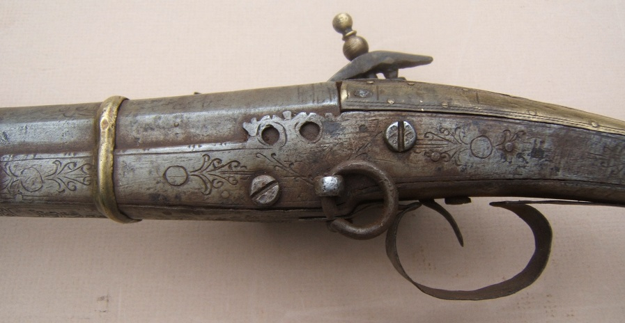 "A FINE QUALITY SMALL-SIZE ALBANIAN ""ALL-METAL"" MIQUELET LONG-GUN, ca. 1820 view 4"
