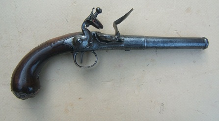 A COLONIAL PERIOD QUEEN ANN TURN-OFF PISTOL BY JAMES FREEMAN, ca. 1715 view 1