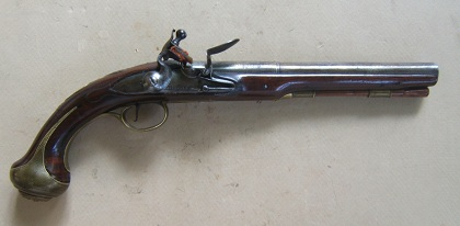 A FINE+ FRENCH & INDIAN/REVOLUTIONARY WAR PERIOD FLINTLOCK OFFICER�S HOLSTER PISTOL BY �BROOKE�, ca. 1740 view 1