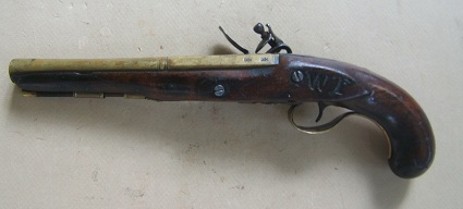 AN EARLY FEDERAL/WAR OF 1812 PERIOD AMERICAN SECONDARY MARTIAL BRASS BARREL FLINTLOCK PISTOL, ca. 1800 view 2