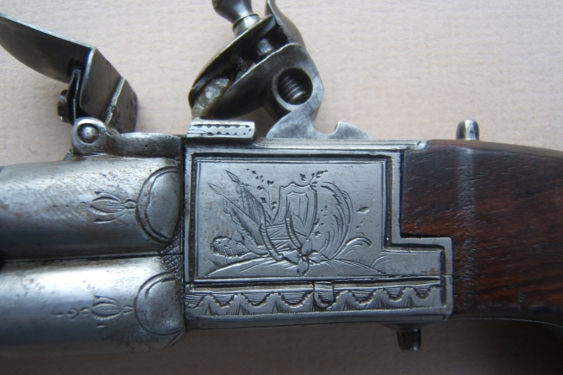 AN EXTREMELY RARE & UNUSUAL FOUR BARREL ENGLISH TAP-ACTION FLINTLOCK PISTOL, ca. 1790 view 3