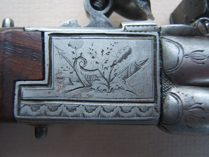AN EXTREMELY RARE & UNUSUAL FOUR BARREL ENGLISH TAP-ACTION FLINTLOCK PISTOL, ca. 1790 view 4