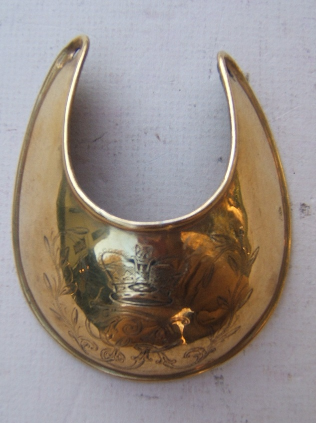 A FINE+ & SCARCE AMERICAN REVOLUTIONARY WAR PERIOD ENGLISH OFFICER'S GORGET w/ GEORGE III ROYAL CYPHER, ca. 1770s view 1