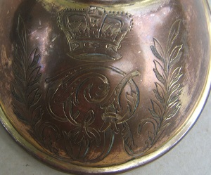 A FINE & SCARCE AMERICAN REVOLUTIONARY WAR PERIOD ENGLISH OFFICER'S GORGET w/ GEORGE III ROYAL CYPHER, ca. 1770s view 3