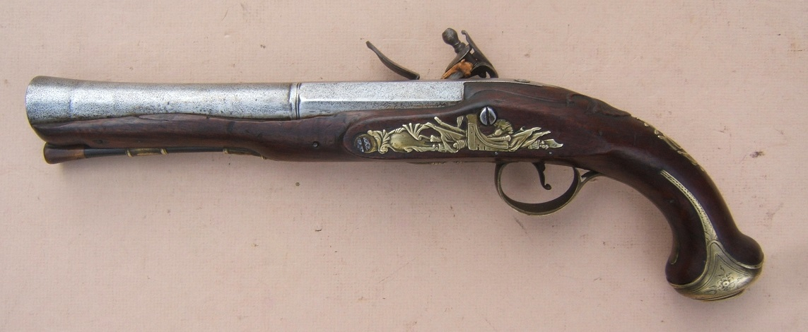 "A VERY GOOD FRENCH & INDIAN/AMERICAN REVOLUTIONARY WAR PERIOD ENGLISH FLINTLOCK OFFICER'S BLUNDERBUSS HOLSTER PISTOL BY ""JOYNER"", ca. 1760 view 2"