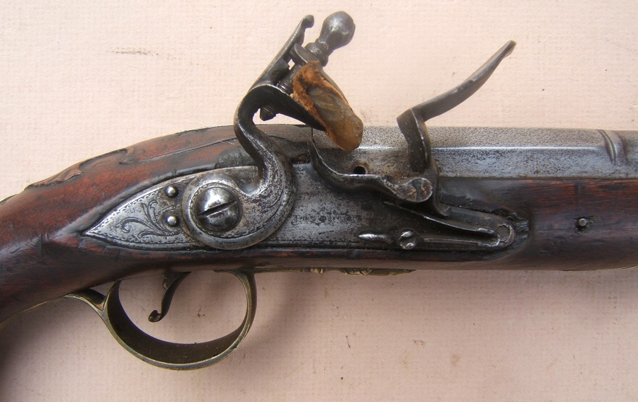 "A VERY GOOD FRENCH & INDIAN/AMERICAN REVOLUTIONARY WAR PERIOD ENGLISH FLINTLOCK OFFICER'S BLUNDERBUSS HOLSTER PISTOL BY ""JOYNER"", ca. 1760 view 3"