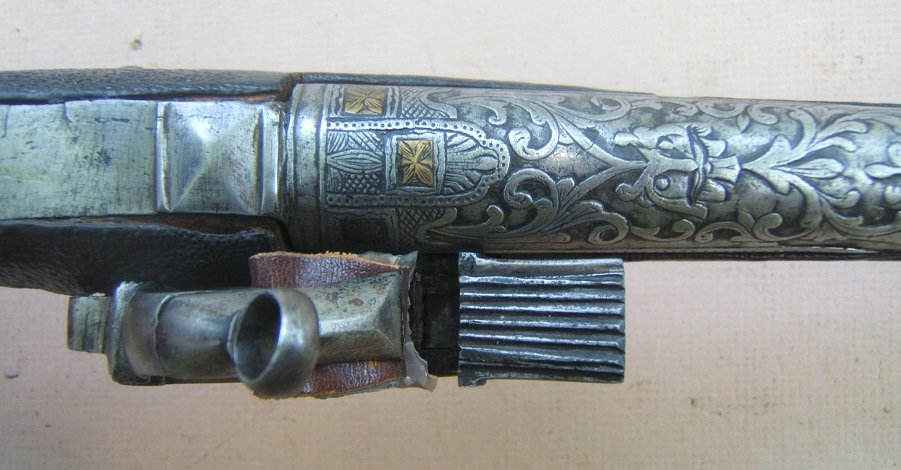 AN EXCELLENT COSSACK (RUSSIAN) BLACK LEATHER-COVERED STOCK IVORY BALL-BUTT MIQUELET HOLSTER PISTOL, ca. 1780-1800 view 5