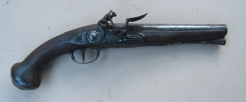 "A VERY GOOD QUALITY BURLWOOD STOCK FRENCH & INDIAN/AMERICAN REVOLUTIONARY WAR PERIOD FRENCH FLINTLOCK HOLSTER/OFFICER'S PISTOL, by ""HENRI MARTIN"", ca. 1750 view 1"