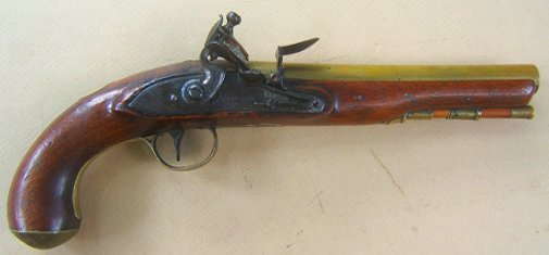 A FINE FEDERAL/WAR OF 1812 PERIOD AMERICAN SECONDARY MARTIAL BRASS BARREL FLINTLOCK PISTOL, ca. 1800-1810 view 1