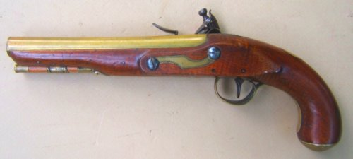 A FINE FEDERAL/WAR OF 1812 PERIOD AMERICAN SECONDARY MARTIAL BRASS BARREL FLINTLOCK PISTOL, ca. 1800-1810 view 2