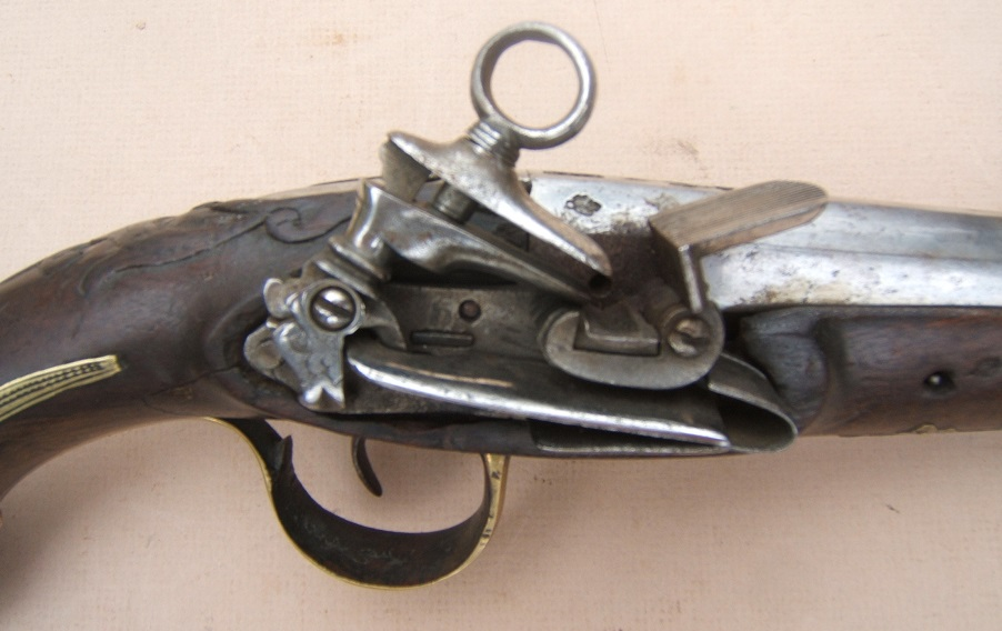 A MID-18th CENTURY SPANISH/SPANISH-COLONIAL MIQUELET OFFICER'S LARGE/MUSKET-BORE BELT PISTOL, ca. 1770 view 5