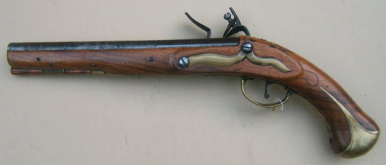 A MID 18th CENTURY AUSTRO-HUNGARIAN/BOHEMIAN FLINTLOCK HOLSTER PISTOL, MARKED TO THE RENOWNED BARON
