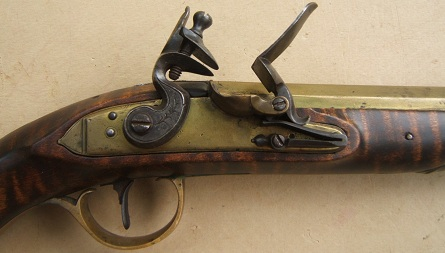 A FINE GUNSMITH MADE EARLY REPRODUCTION BRASS BARREL FLINTLOCK