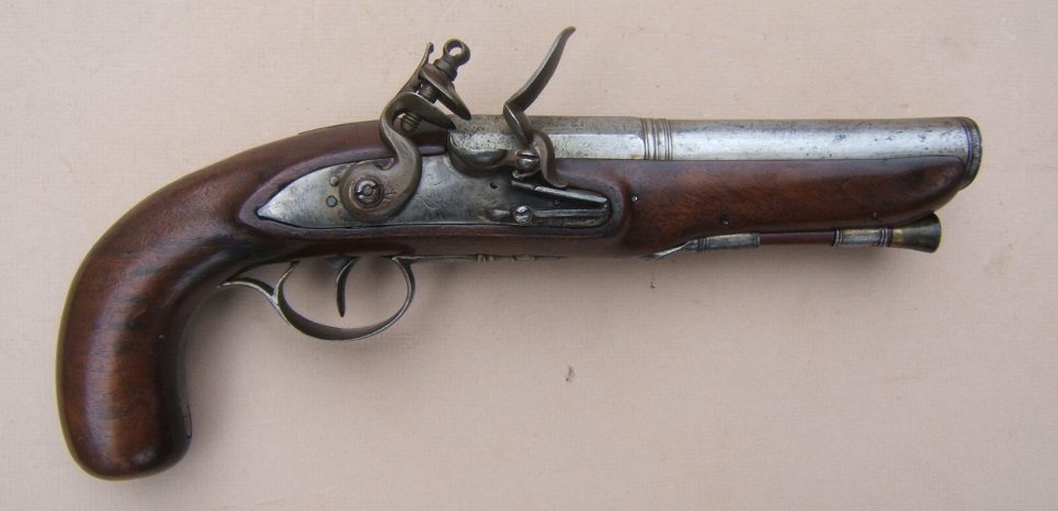"A FINE IRON ELLIPTICAL BARREL BLUNDERBUSS PISTOL, BY ""LAMBERT"" w/ ""M. B. WALSH"" INSCRIPTION, ca. 1800 view 1"
