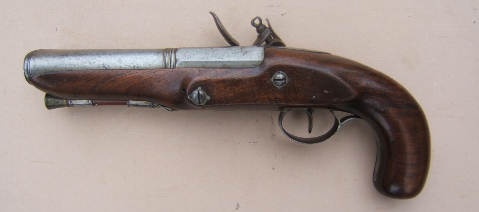 "A FINE IRON ELLIPTICAL BARREL BLUNDERBUSS PISTOL, BY ""LAMBERT"" w/ ""M. B. WALSH"" INSCRIPTION, ca. 1800 view 2"