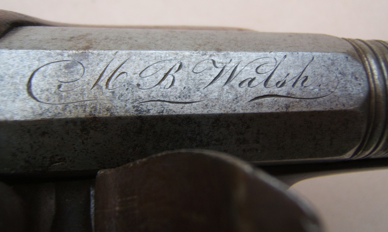 "A FINE IRON ELLIPTICAL BARREL BLUNDERBUSS PISTOL, BY ""LAMBERT"" w/ ""M. B. WALSH"" INSCRIPTION, ca. 1800 view 4"
