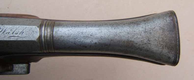 "A FINE IRON ELLIPTICAL BARREL BLUNDERBUSS PISTOL, BY ""LAMBERT"" w/ ""M. B. WALSH"" INSCRIPTION, ca. 1800 view 5"