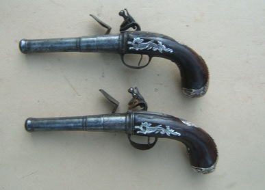 A VERY GOOD & EARLY PAIR OF SILVER MOUNTED LION�S MASK-BUTT QUEEN ANN PISTOLS, by DAVID WYNN, ca. 1720 view 2