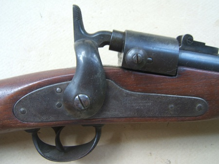 AN EXCELLENT & RARE {.58 CAL.} CIVIL WAR ISSUE JOSLYN MODEL 1864 SADDLE RING CARBINE, SN. 15,5XX, dtd. 1864 view 4