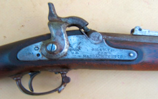 A VERY GOOD+ CIVIL WAR USED US MODEL 1863 CONTRACT MUSKET, dtd. 1863 view 3