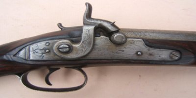 A FINE BOARD OF ORDNANCE MARKED ENGLISH PERCUSSION BLUNDERBUSS W/ SNAP-BAYONET, by