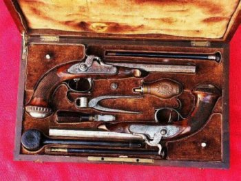 VERY GOOD & EARLY CASED PAIR OF PERCUSSION DUELLING PISTOLS BY �BOVY� of LIEGE, ca. 1840s view 1