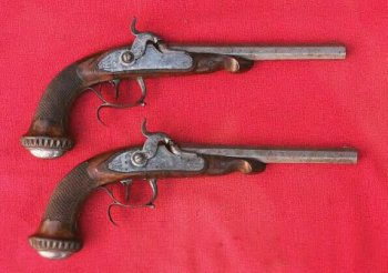 VERY GOOD & EARLY CASED PAIR OF PERCUSSION DUELLING PISTOLS BY �BOVY� of LIEGE, ca. 1840s view 2