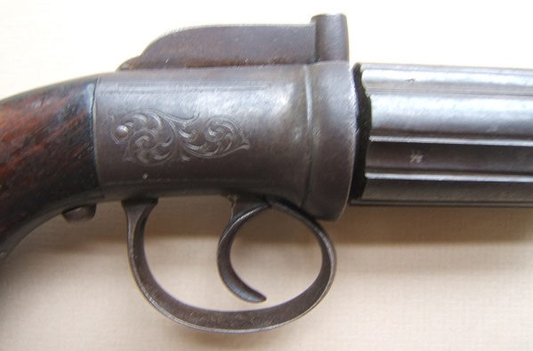 A GOOD GOLD RUSH ERA ENGLISH PERCUSSION PEPPERBOX PISTOL, ca. 1840s view 3