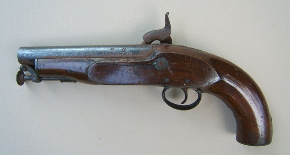 "A VERY GOOD VICTORIAN PERIOD COMMERCIALLY MANUFACTURED MODEL 1842 ""COAST GUARD SERVICES"" PERCUSSION PISTOL, ca. 1845 view 2"