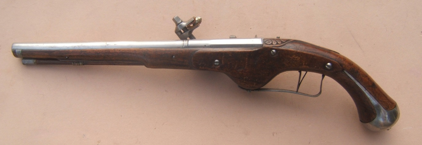 AN EXCELLENT 17th CENTURY/30-YEARS WAR PERIOD GERMAN MILITARY WHEELOCK PISTOL, ca. 1640 view 2