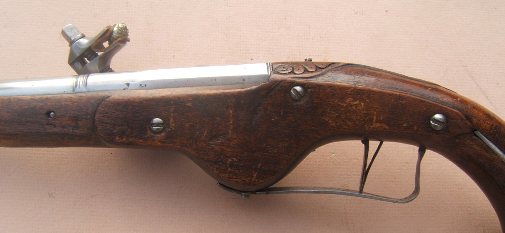 AN EXCELLENT 17th CENTURY/30-YEARS WAR PERIOD GERMAN MILITARY WHEELOCK PISTOL, ca. 1640 view 4