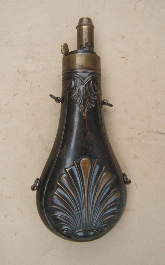 A FINE+ MID 19TH CENTURY AMERICAN EMBOSSED COPPER POWDER FLASK, ca. 1860view 1