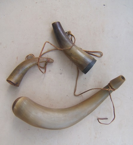 A VERY GOOD GROUPING of THREE (3)  EARLY/MID 19th CENTURY AMERICAN POWDER HORNS, ca. 1780-1850 view 2