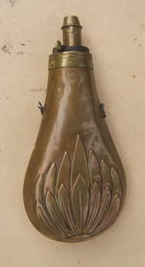 A VERY GOOD+ AMERICAN EMBOSSED BRASS SCALLOP-SHELL POWDER FLASK, ca. 1850s view 1