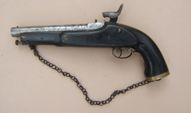 A GOOD VICTORIAN PERIOD/LATE 19TH CENTURY NATIVE MADE (INDIAN) EAST INDIA Co. PERCUSSION service PISTOL, ca. 1890 view2