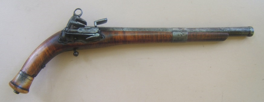 A VERY GOOD COSSACK (RUSSIAN) BURLWOOD STOCK BALL-BUTT MIQUELET HOLSTER PISTOL, ca. 1780-1800 view1