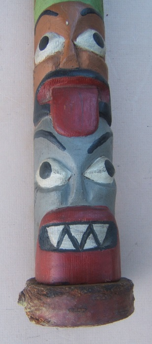 AN EARLY 20TH CENTURY PACIFIC NORTH WEST COAST TLINGIT/HAIDA CARVED CEDAR & POLYCHROME PAINTED TOTEM POLE, ca. 1930 view 3