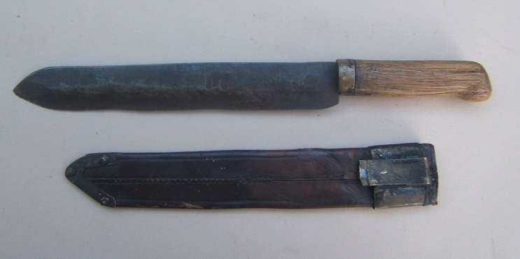 A VERY GOOD & UNTOUCHED AMERICAN BLACKSMITH-MADE CIVIL WAR PERIOD (CONFEDERATE?) BELT DAGGER/FIGHTING KNIFE, ca. 1860 view 1